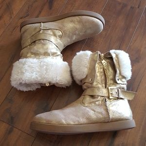 G by Guess -  90's Distressed Gold & Faux Fur